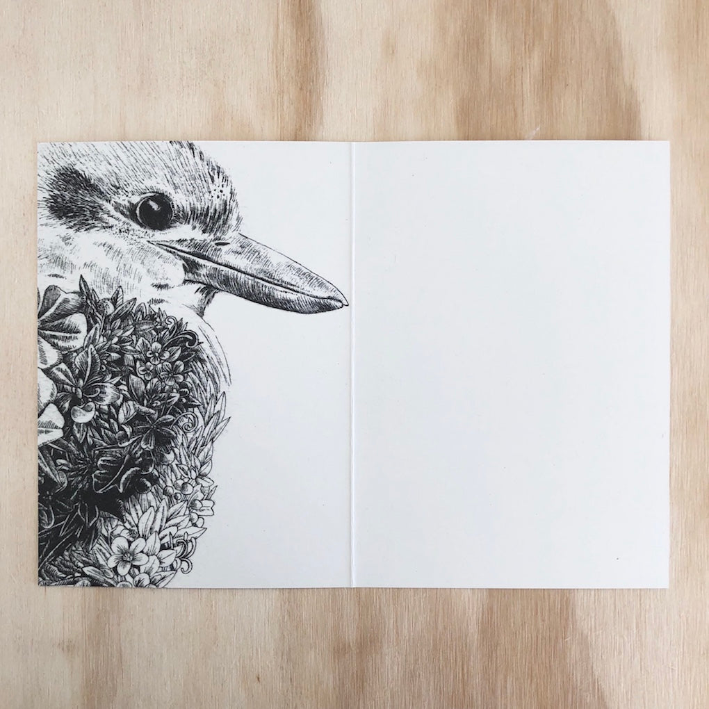 Marini Ferlazzo Kookaburra greeting card - open showing the inside with illustration of an Australian Kookaburra on the left hand side