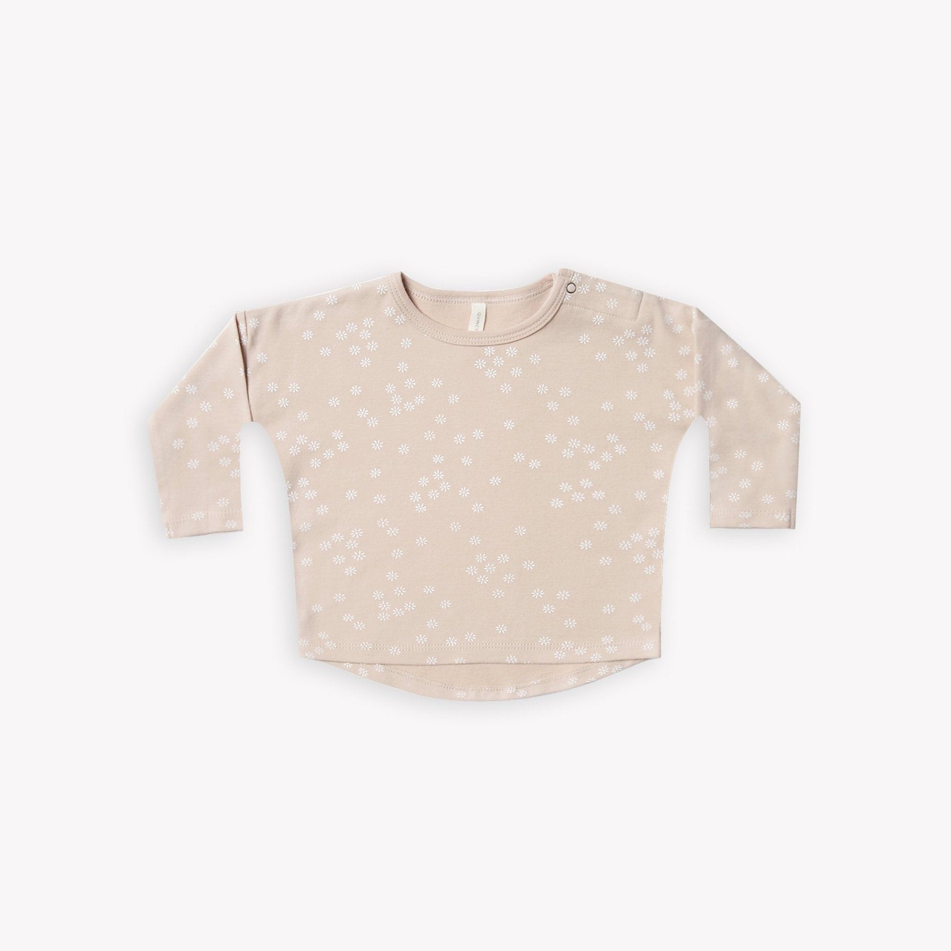 Quincy Mae organic long sleeve baby tee - rose with flora print