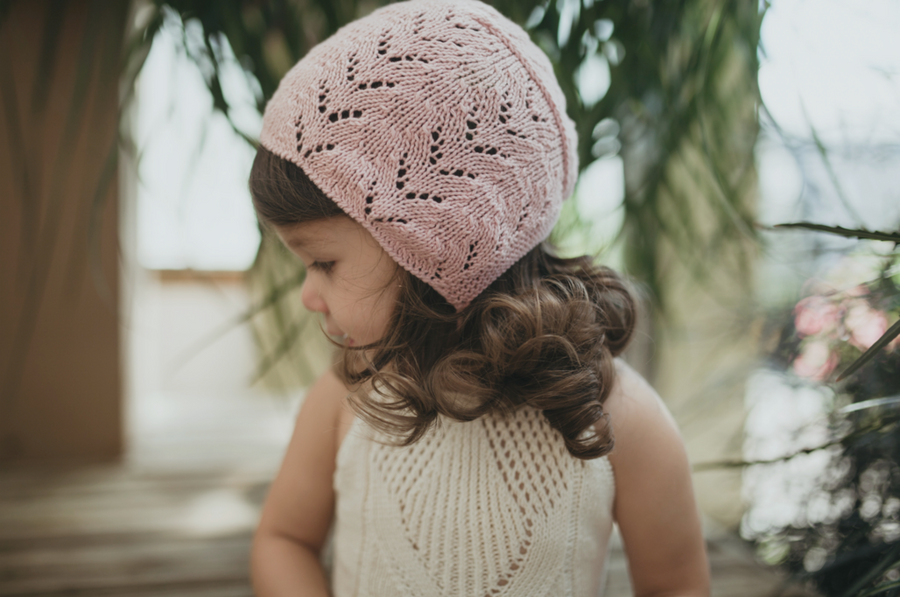 Miou organic cotton Lacy bonnet in pink