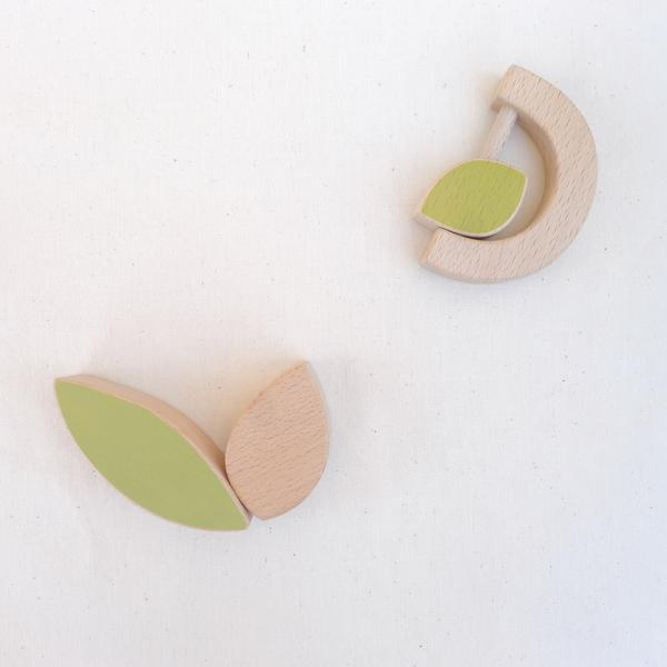 The Wandering Workshop wooden leaf teething rattle for babies
