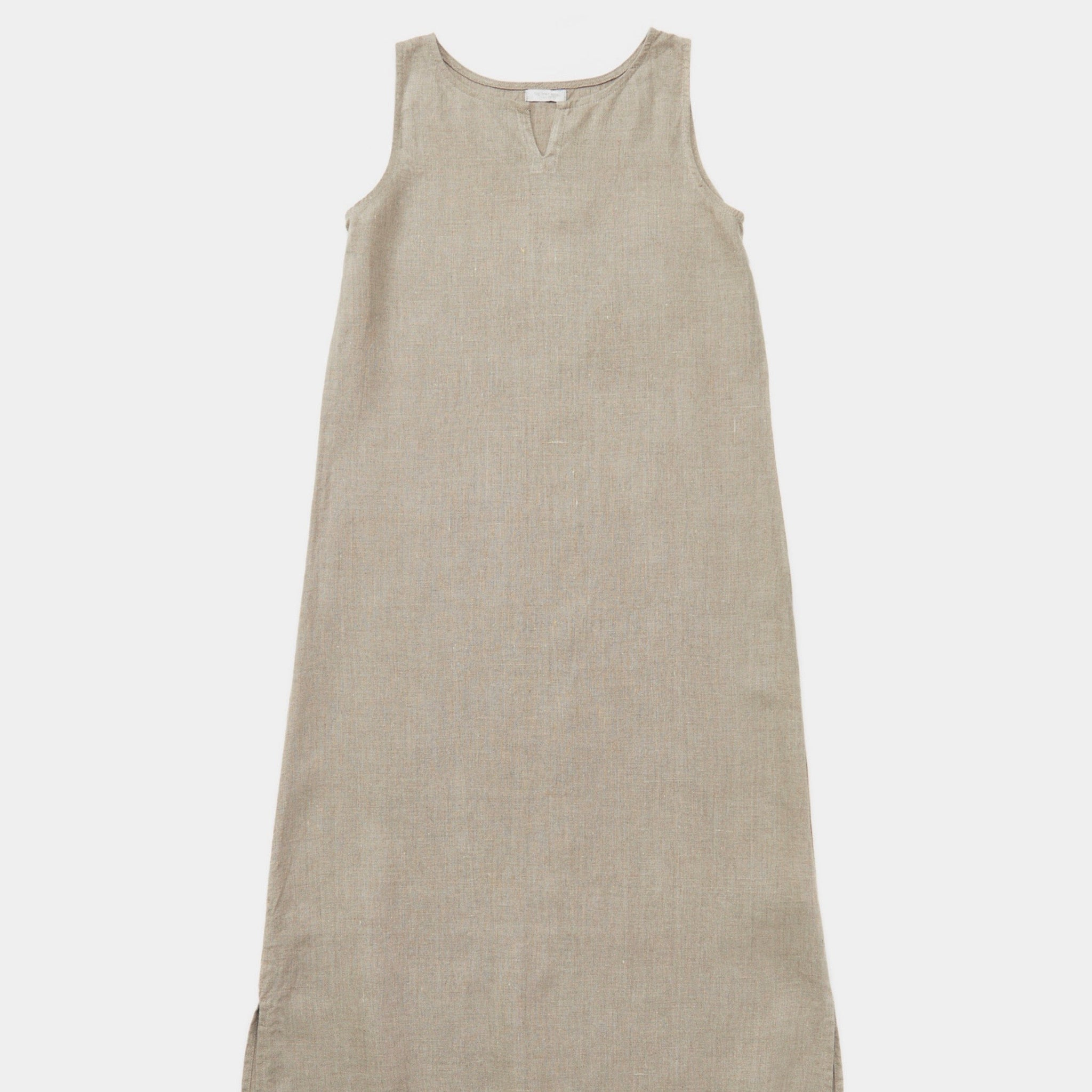 Close up of Fog Linen Work Leah Sleeveless Night Shirt in natural linen