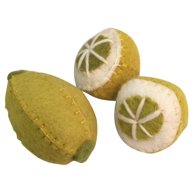 Papoose felt fruit - pretend food - one full lemon and two lemon halves. Toy made of pure wool