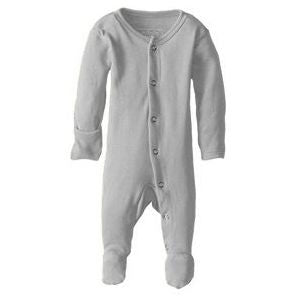 Loved Baby Organic Cotton Footed Overall in light grey