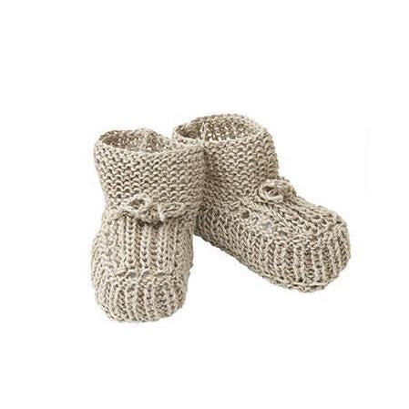 Pair of Fog Linen Work knitted baby booties in natural linen