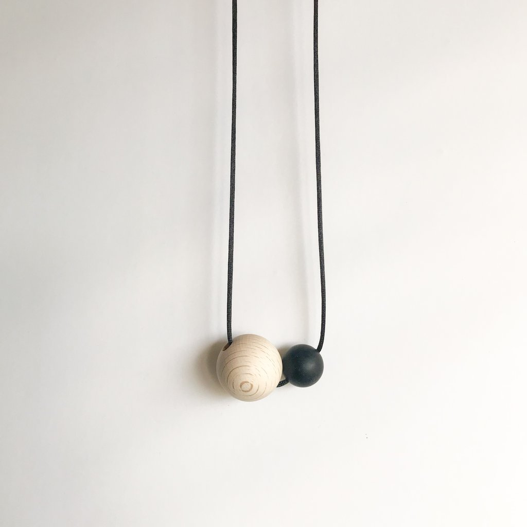 Dove and Dovelet luna wood and silicone teething necklace