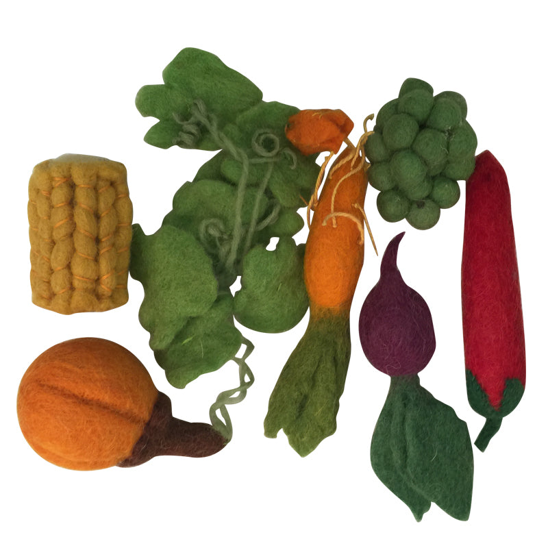 Papoose felt toy - pretend food - set of mini vegetables including corn, pumpkin, beetroot, chilli and carrot