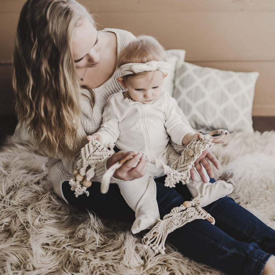 Finn and Emma organic cotton Macrame All-In-One Toy - diamond pattern