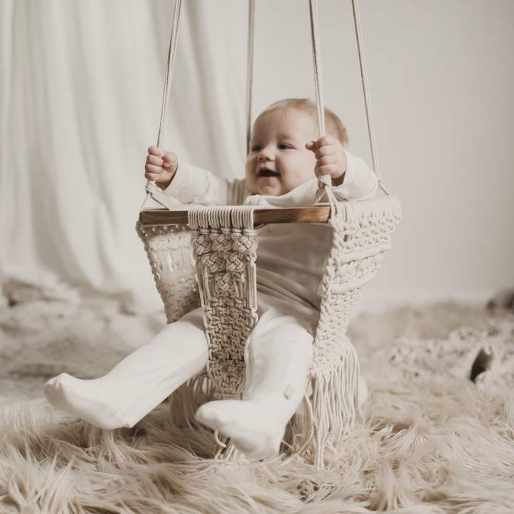Finn and Emma organic cotton and solid wood Macrame Swing