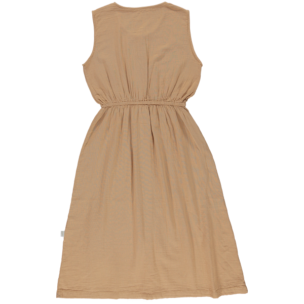 Back of Poudre Organic women's organic cotton Magnolia dress in Indian Tan