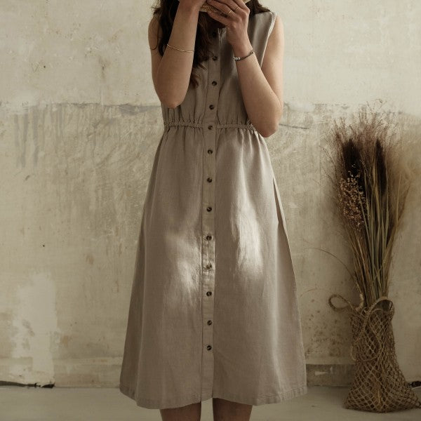 Model wearing Poudre Organic linen and organic cotton Magnolia dress