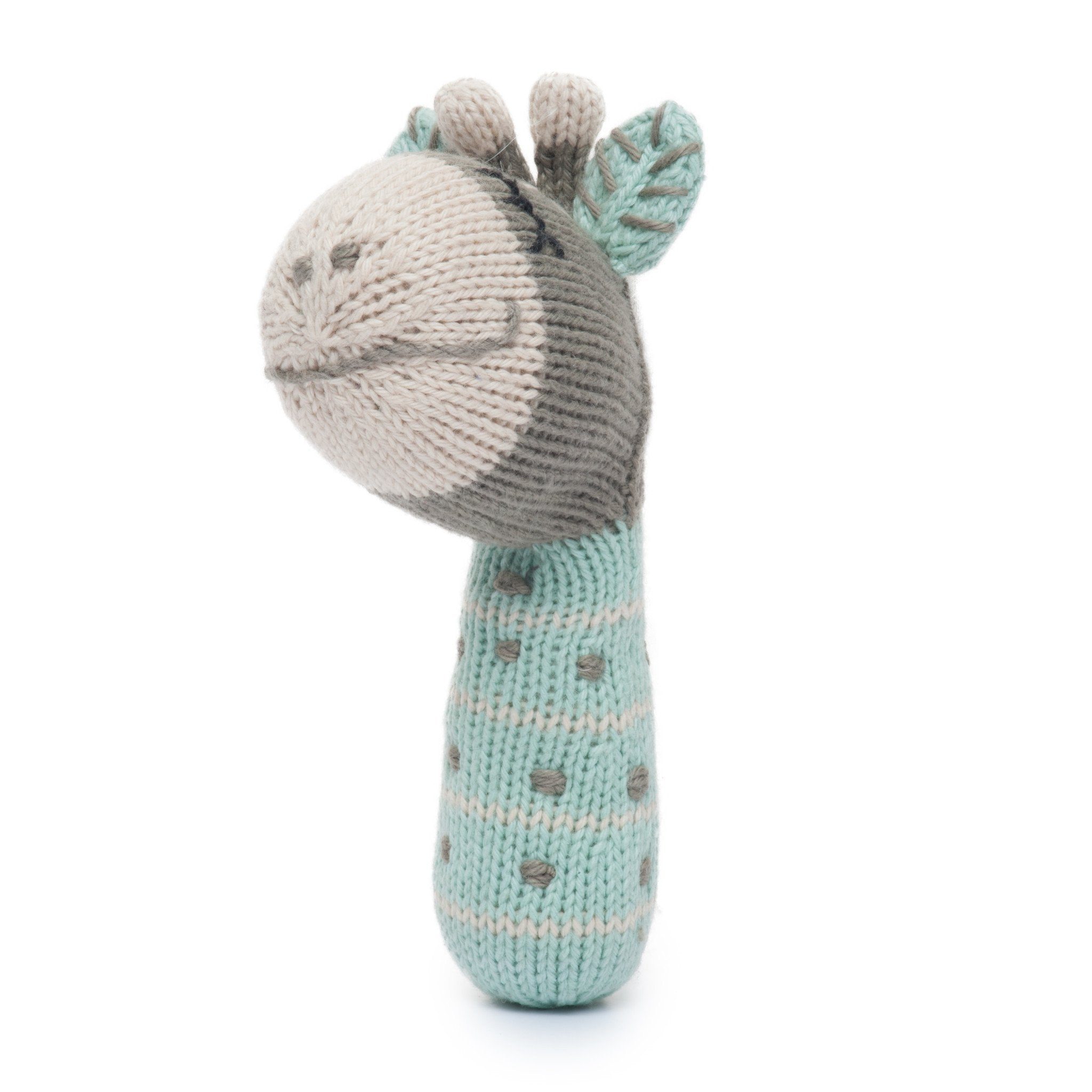 Finn and Emma Ami the Giraffe - organic cotton knitted baby rattle