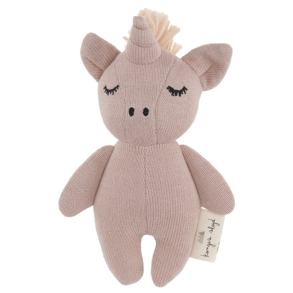 Konges Sløjd organic cotton mini pink unicorn rattle toy for babies