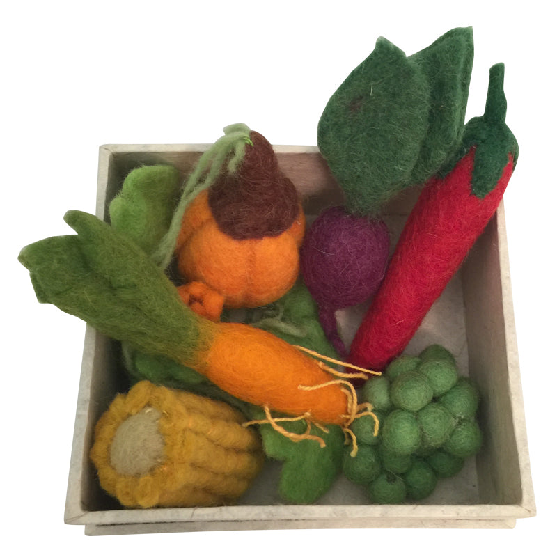 Papoose felt toy - boxed set of mini vegetables made from fairtrade pure wool