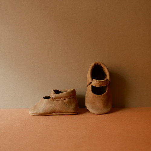 Pair of Betón Moccs in Panel - vegetable tanned leather baby shoes