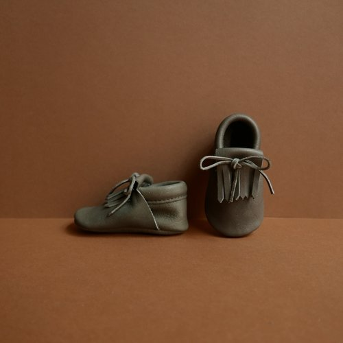 Pair of Betón Moccs in the Sponge style - baby moccasins made of vegetable tanned leather