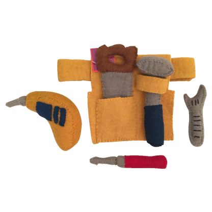 Papoose Toys pure wool felt Mr Toolman - tool set and tool belt