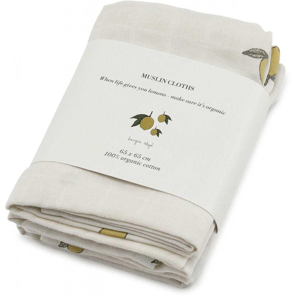 Konges Sløjd 3 pack of organic cotton muslin cloths in lemon print