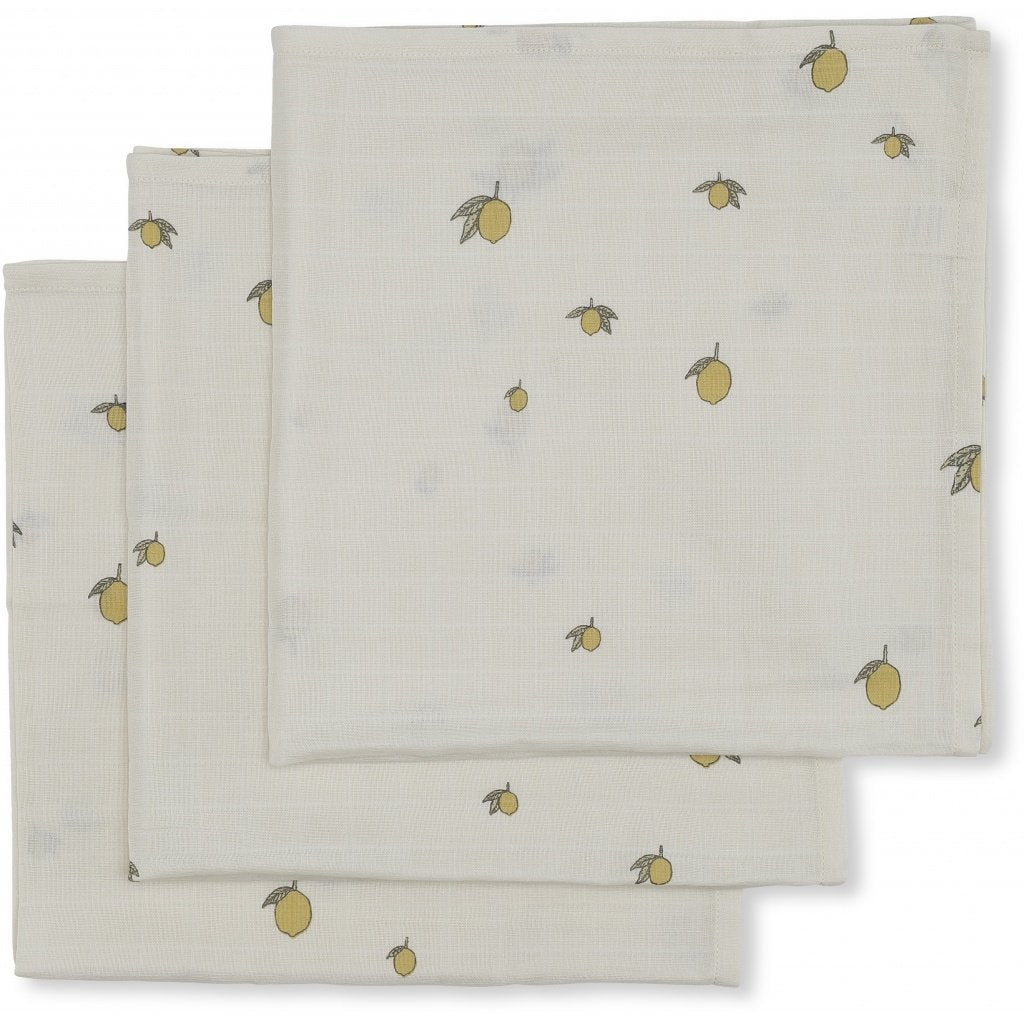 Konges Sløjd organic cotton muslin cloths in lemon print - 3 pack