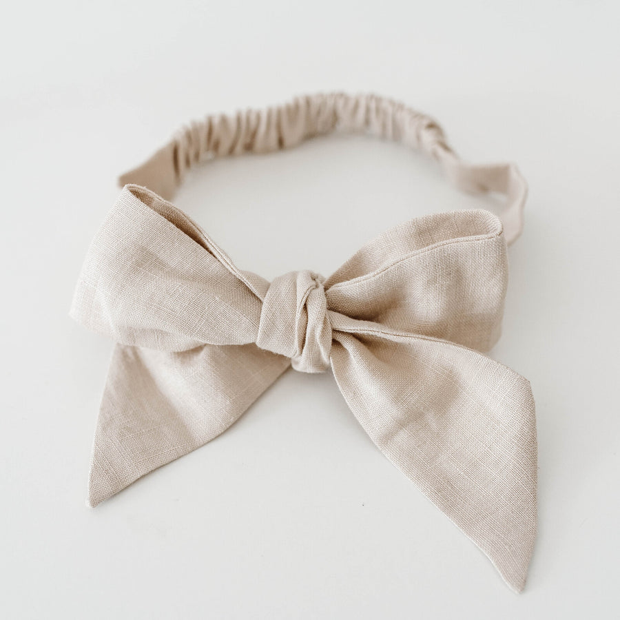 Snuggle Hunny Kids Natural Linen Bow Pre-Tied Headband Wrap