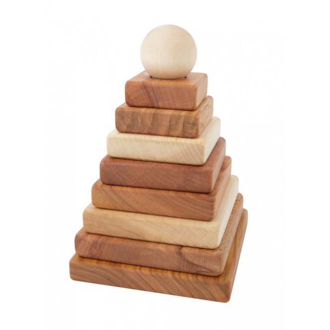 Wooden Story natural wood pyramid stacking toy