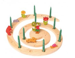 Grimm's wooden celebration and advent spiral - 24 hole natural - decorated with figurines and green candles