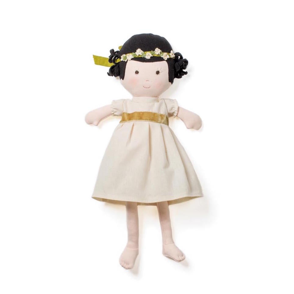 Hazel Village organic cotton doll - Celia in green and gold outfit