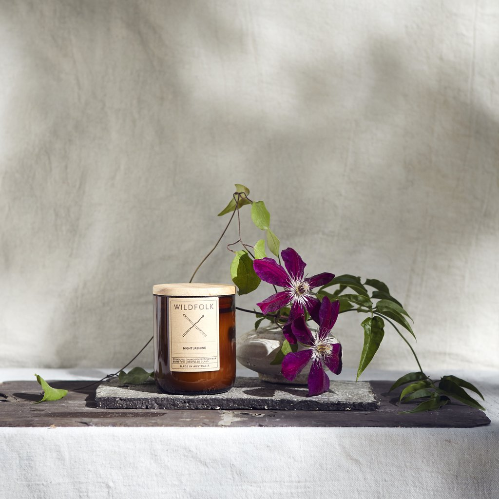 Wildfolk Soy Candle in Amber Glass - Night Jasmine