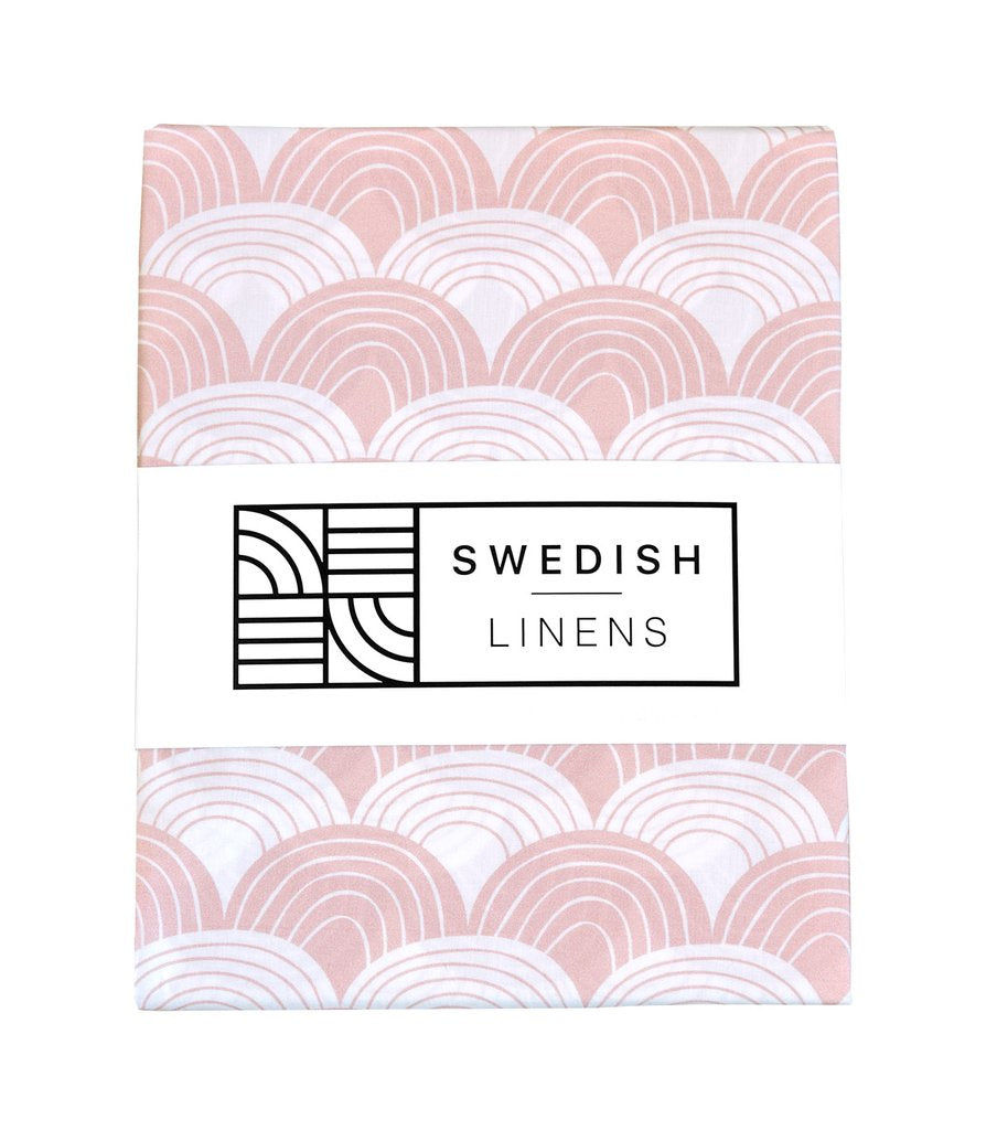 Packaging for Swedish Linens Rainbows organic cotton sheet in Nudy Pink