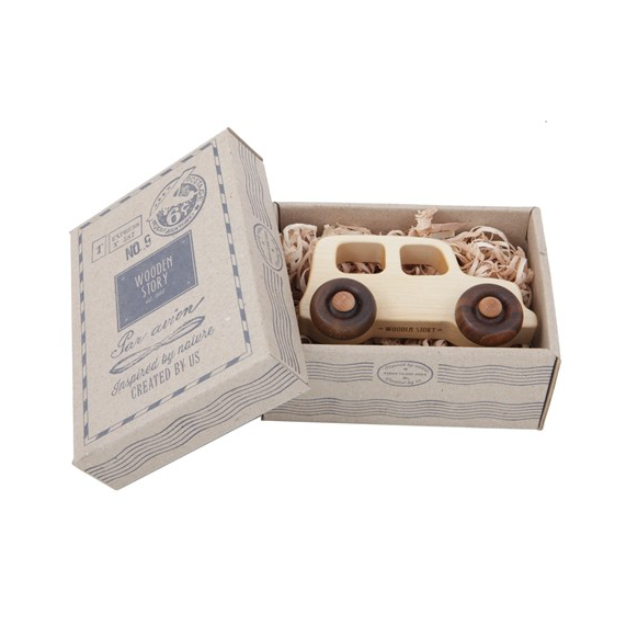 Wooden Story Off-Road Vehicle in cardboard packaging