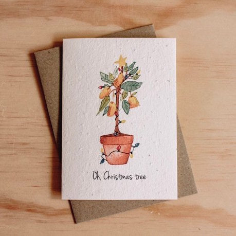 Mama and Daisy plantable seeded greeting card - Oh Christmas Tree