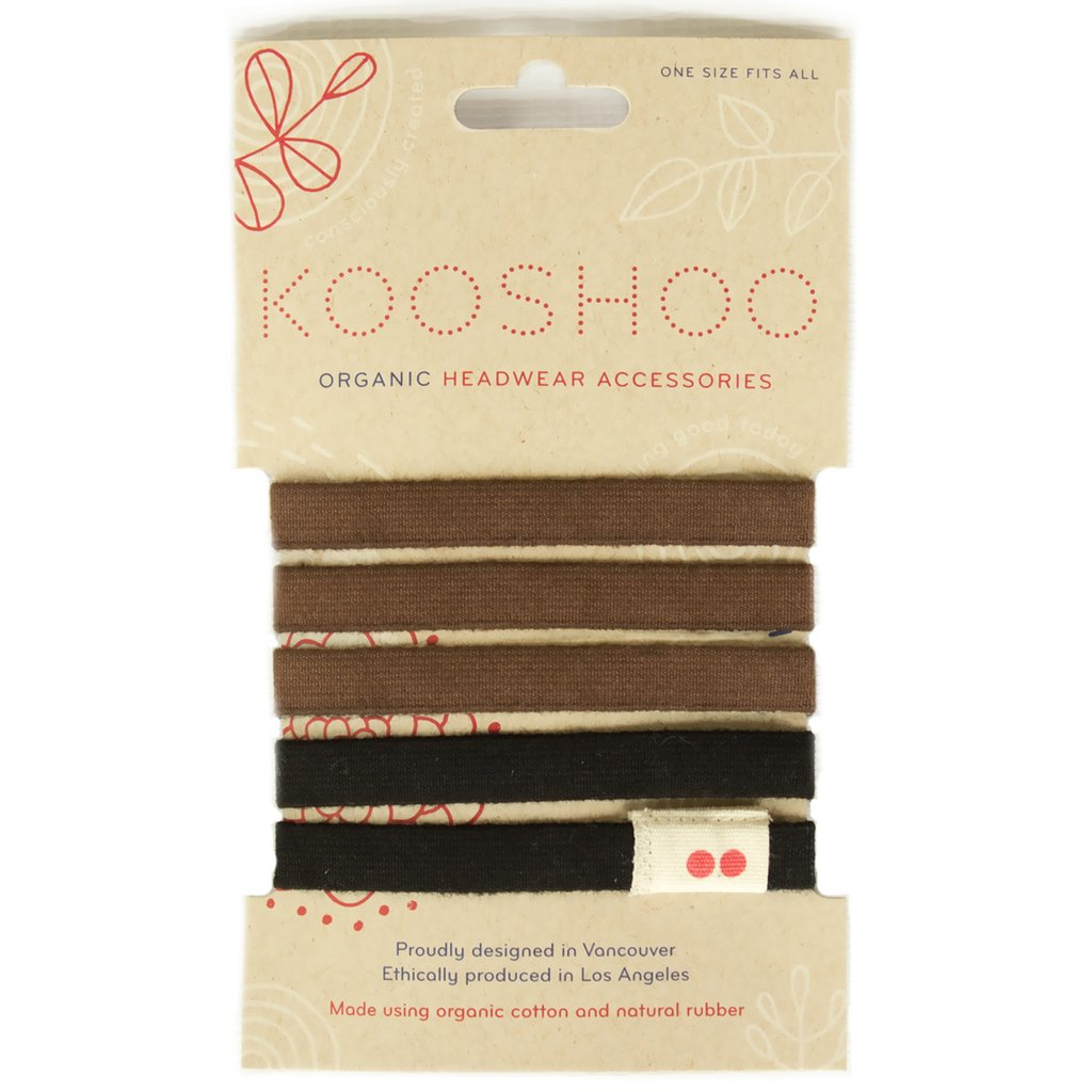 Kooshoo organic cotton hair ties 5 pack in brown and black