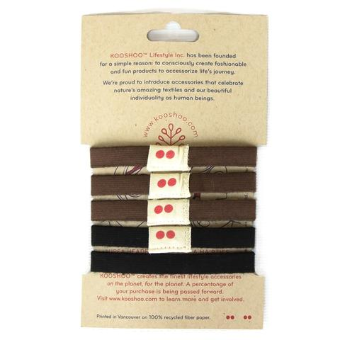 Packaging for Kooshoo organic cotton hair ties 5 pack in brown and black