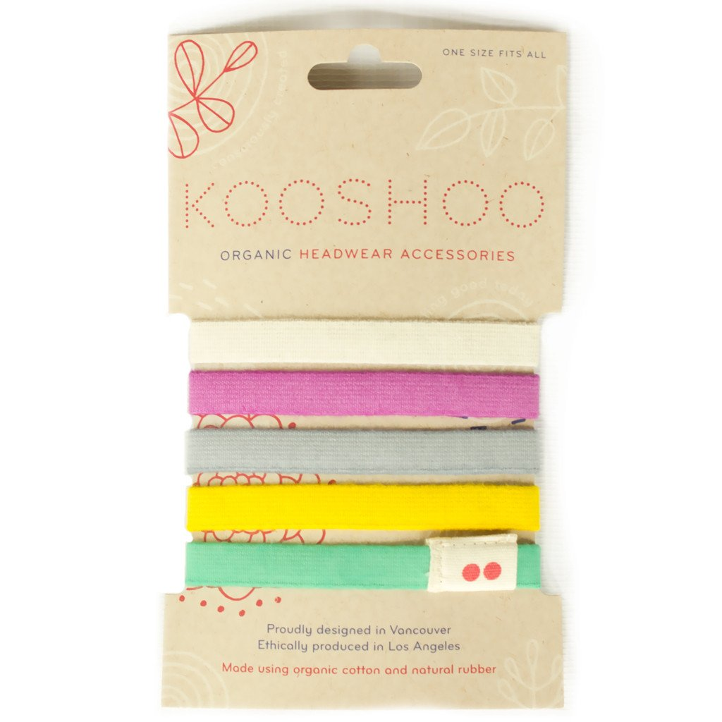 Kooshoo organic cotton hair ties 5 pack in rainbow colours
