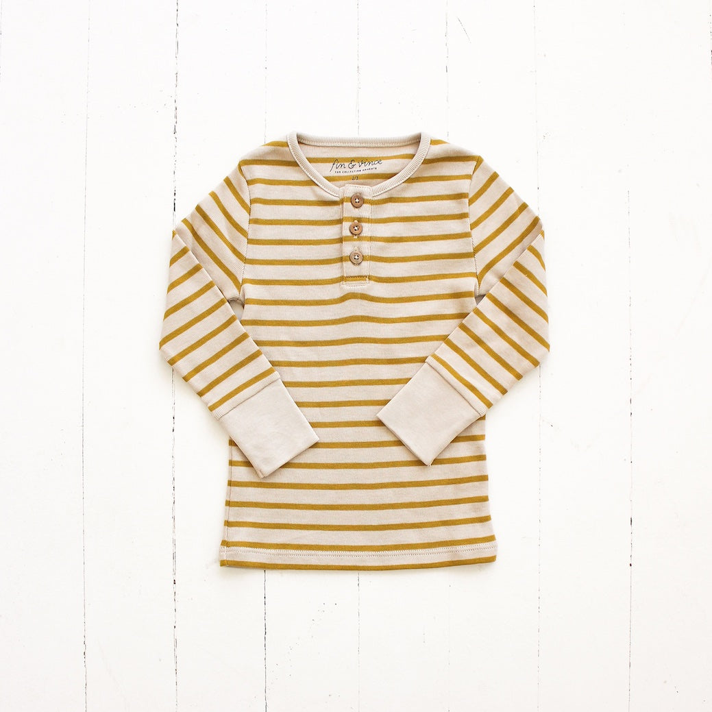 Striped Henley Top - Mustard