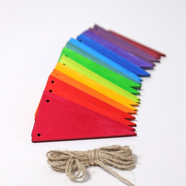 Grimm's wooden pennant banner rainbow