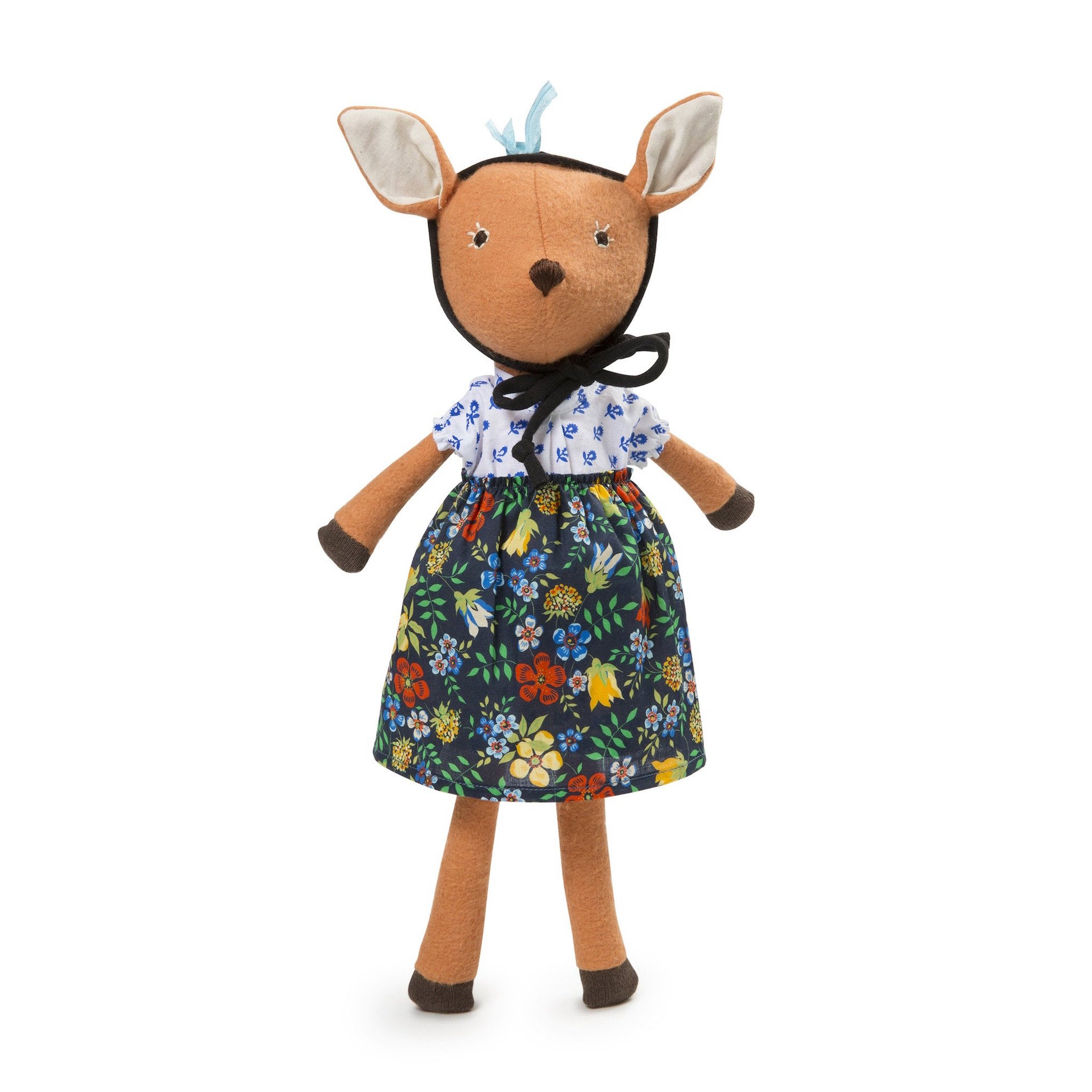 Hazel Village organic cotton doll - Phoebe the Fawn in cornflower blouse outfit