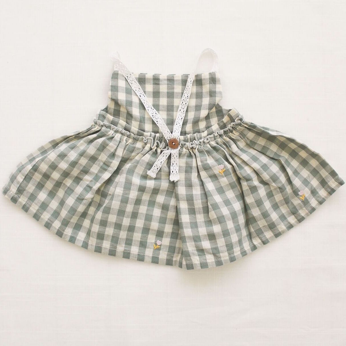 Fin and Vince picnic tunic - pistachio gingham - back