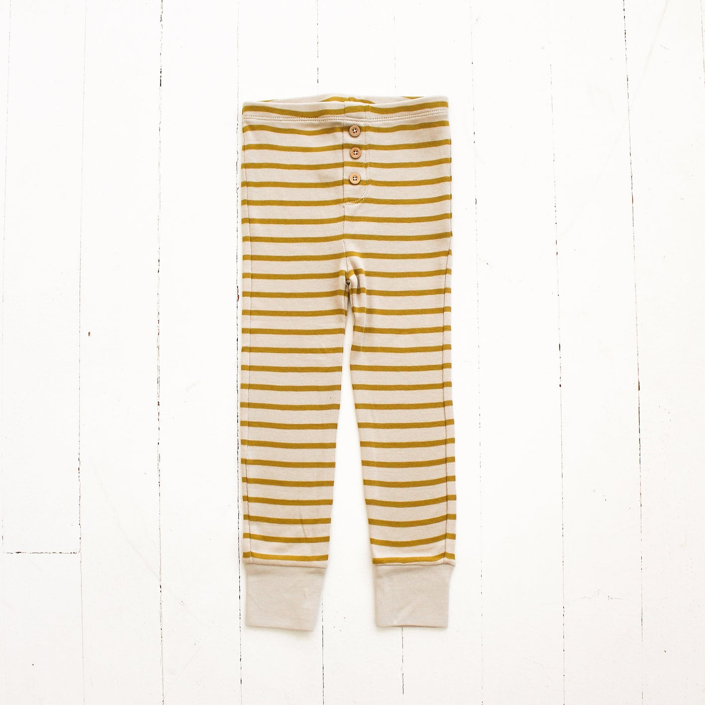 Fin and Vince Pima Cotton Striped Button Pant - Mustard