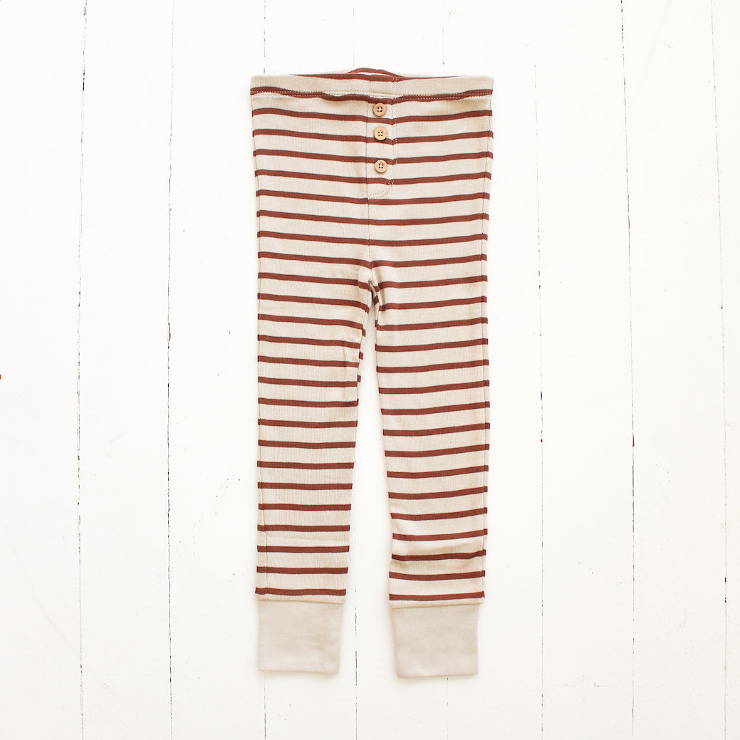 Fin and Vince Pima Cotton Striped Button Pant - Spice