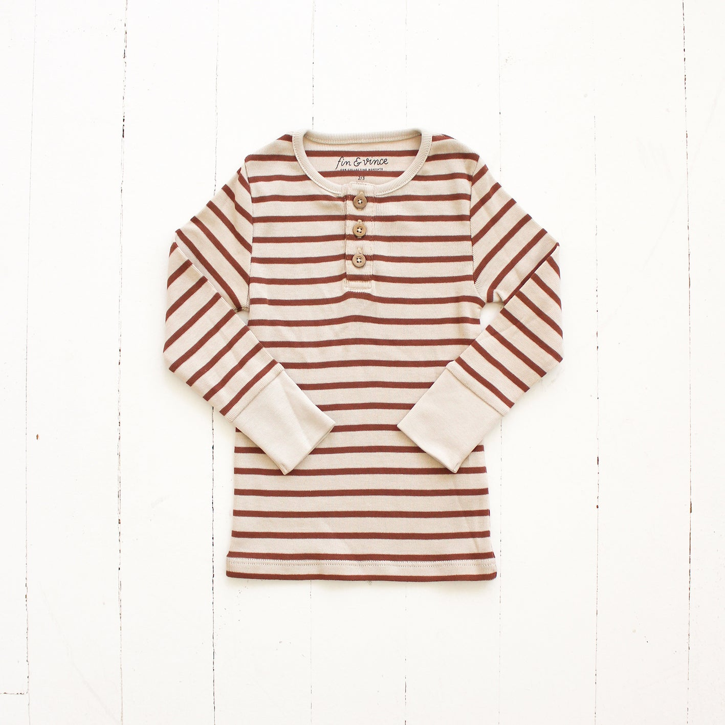 Fin and Vince Pima Cotton Striped Henley Top - Spice