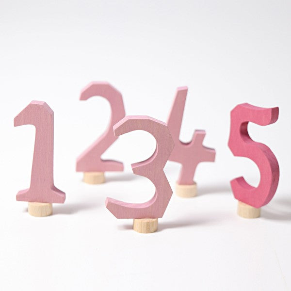 Grimm's wooden decorative numbers set 1-5 pink