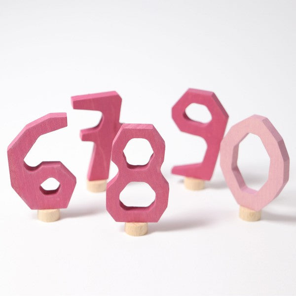 Grimm's wooden decorative numbers set 6-9 and 0 pink
