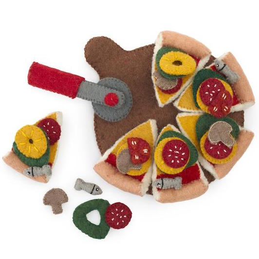 Felt Food - Pizza with Server/Cutter and Toppings
