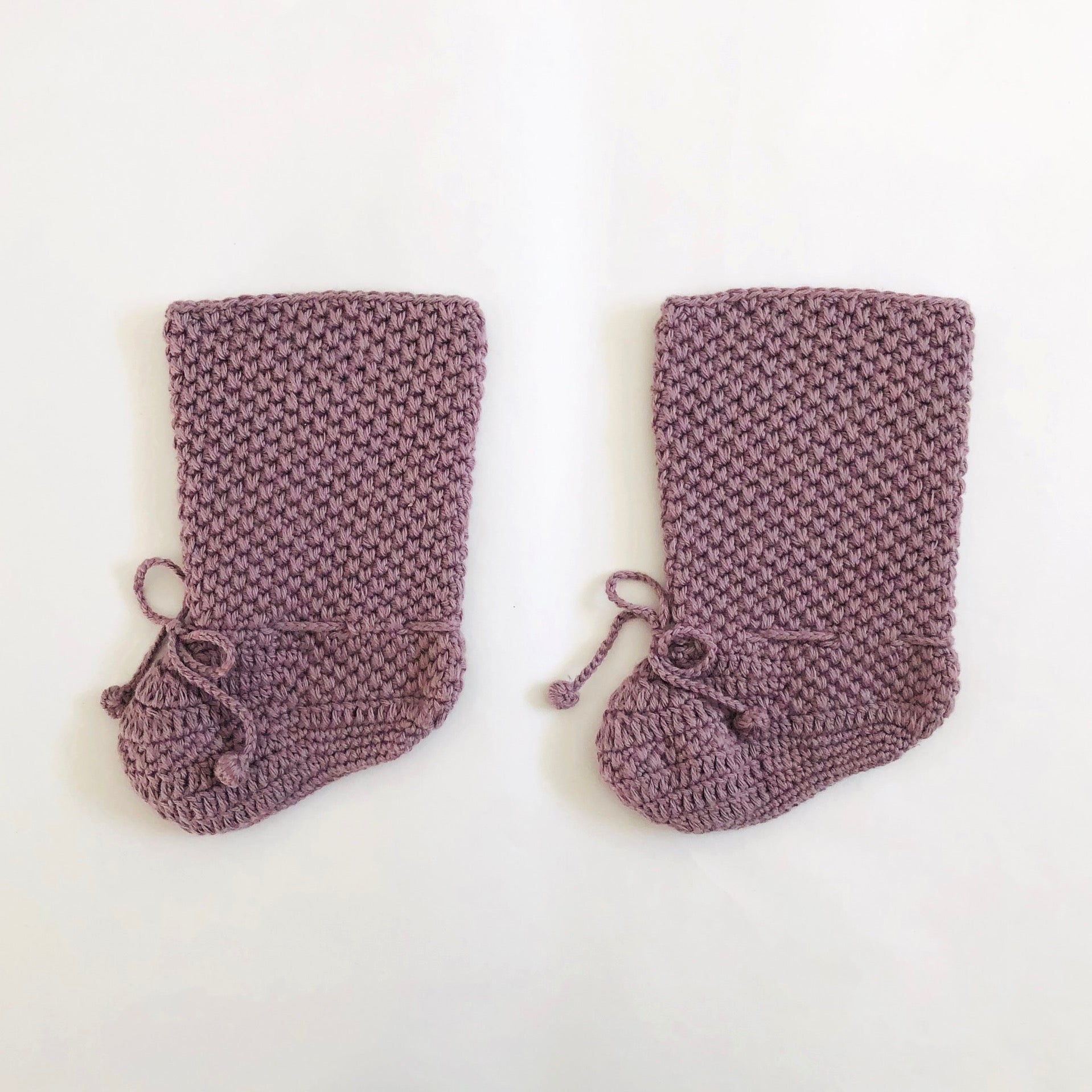 Miou Kids organic cotton crochet long booties - plum