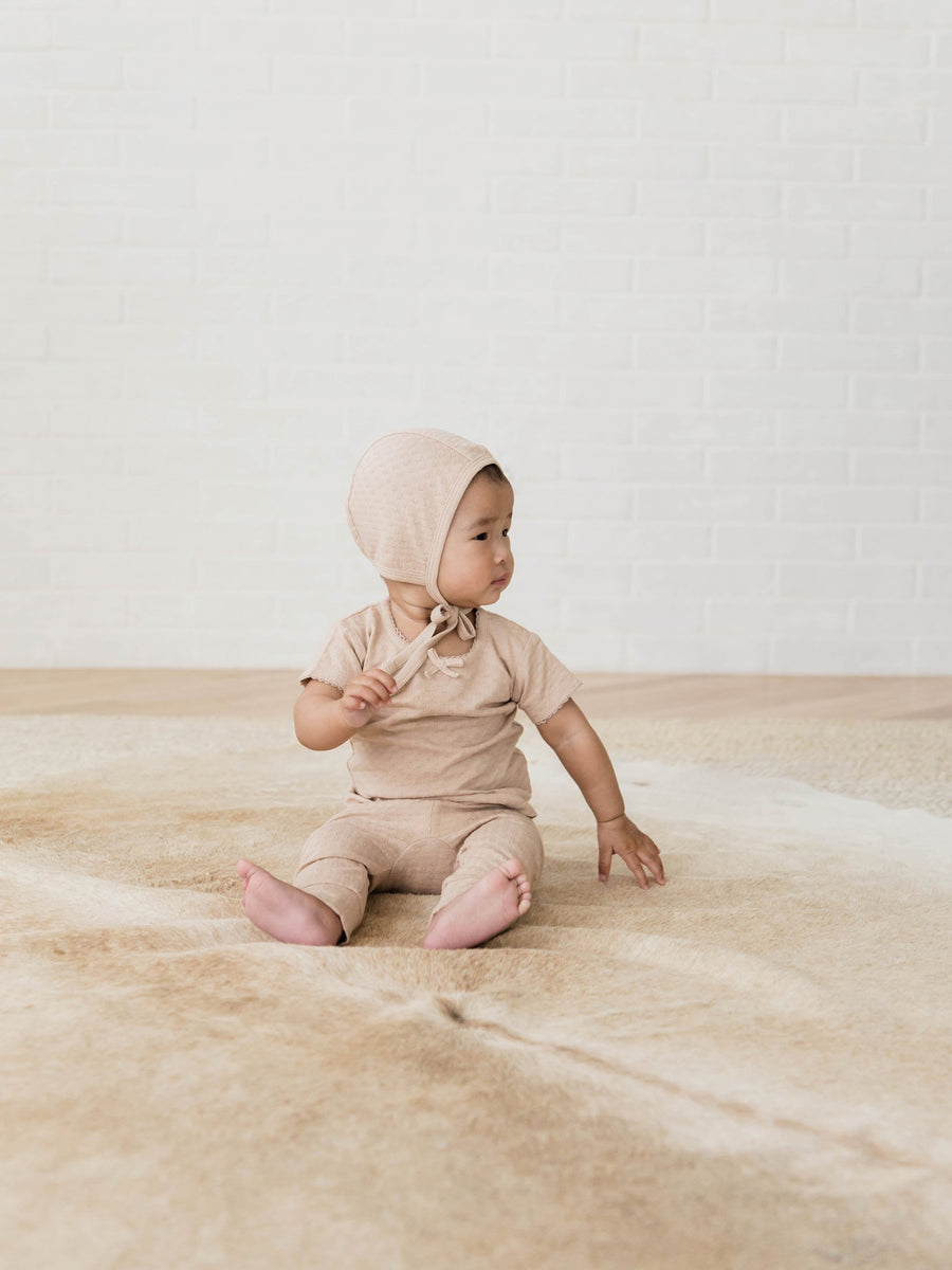Quincy Mae organic cotton pointelle baby bonnet in rose