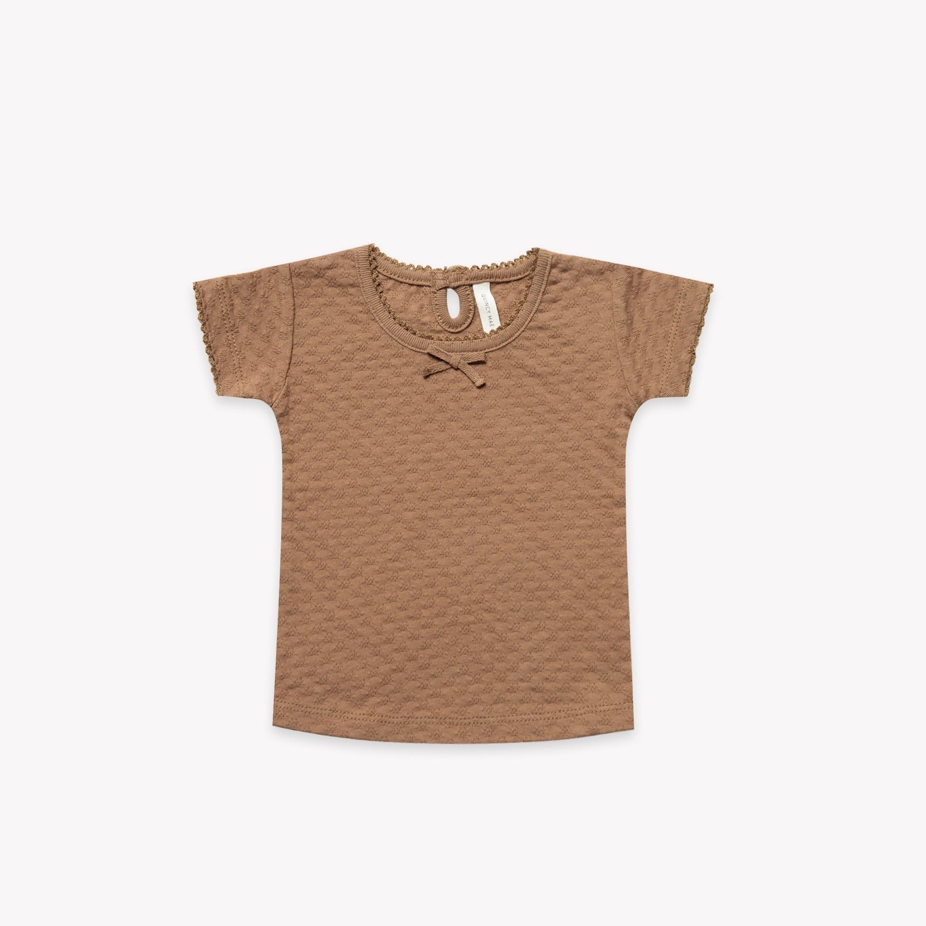 Quincy Mae organic cotton pointelle baby tee - copper