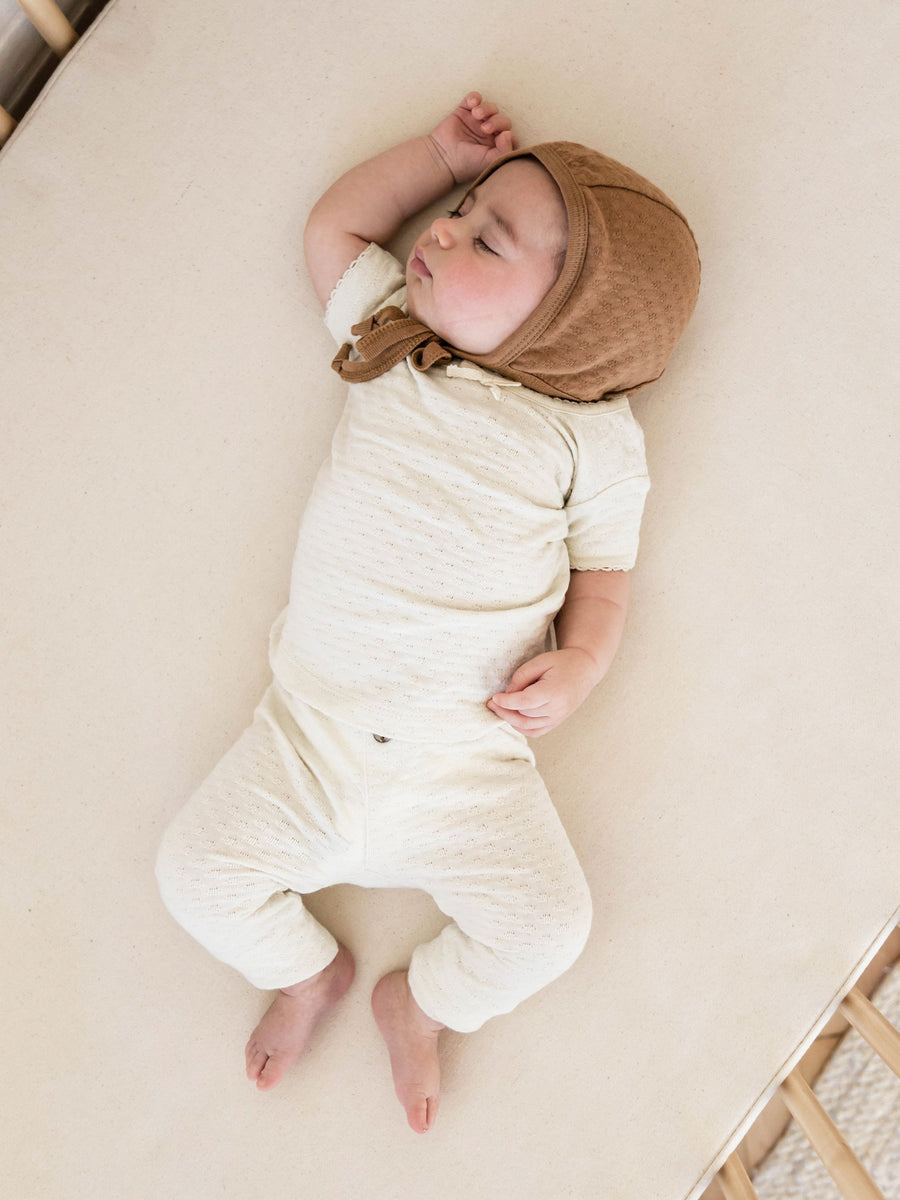 Quincy Mae organic cotton pointelle baby tee in pebble