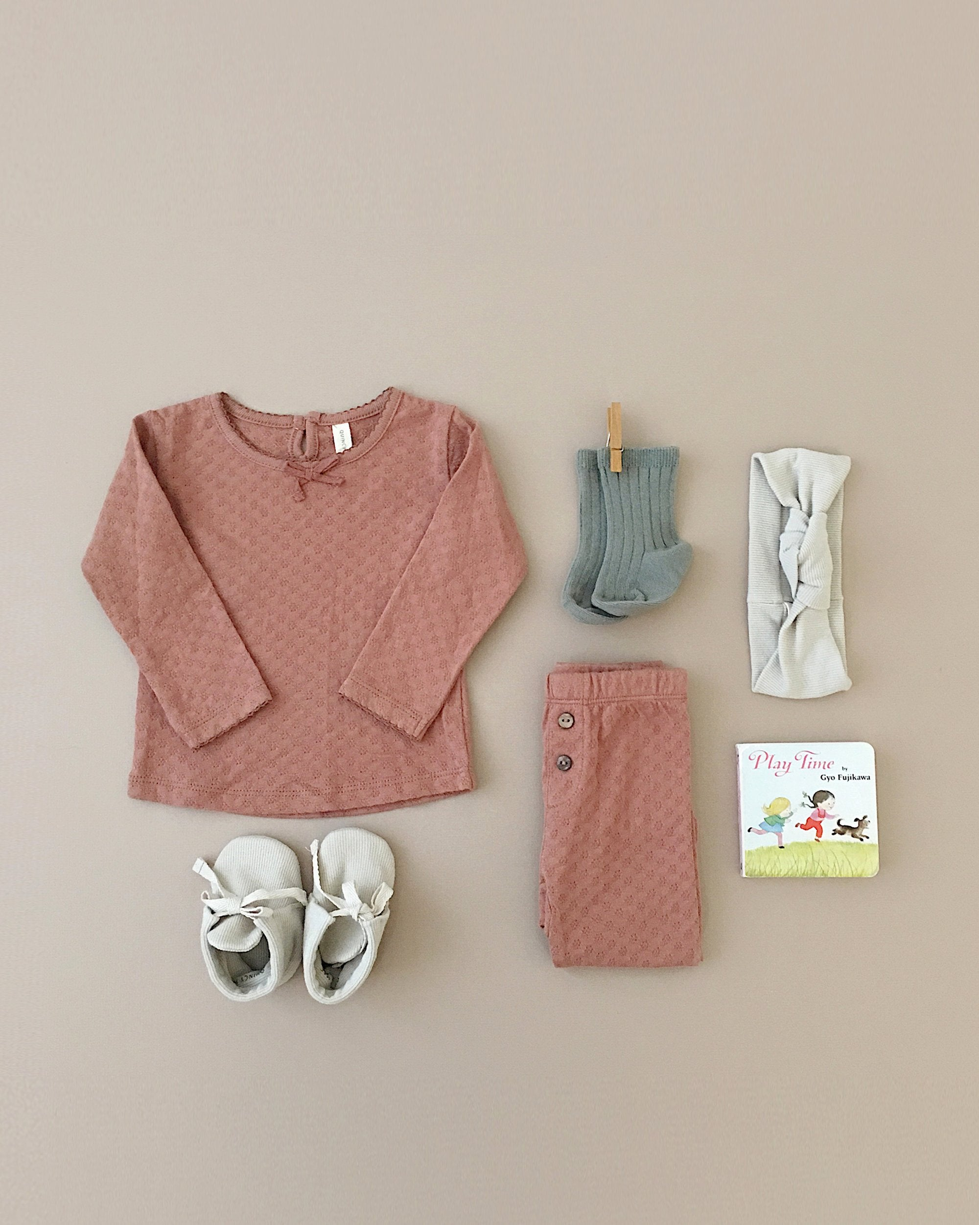 Flatlay including Quincy Mae organic pointelle tee and legging