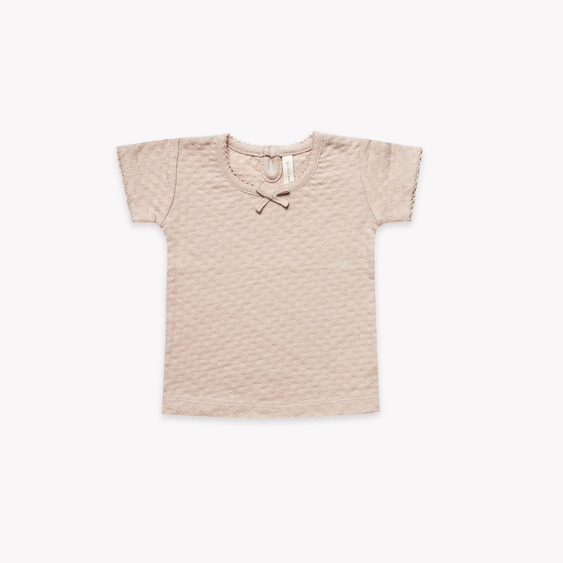 Quincy Mae short sleeve pointelle tee - rose