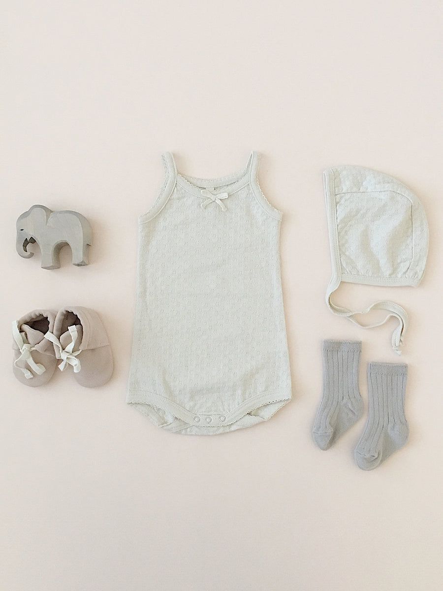 Quincy Mae organic cotton pointelle tank onesie - pebble